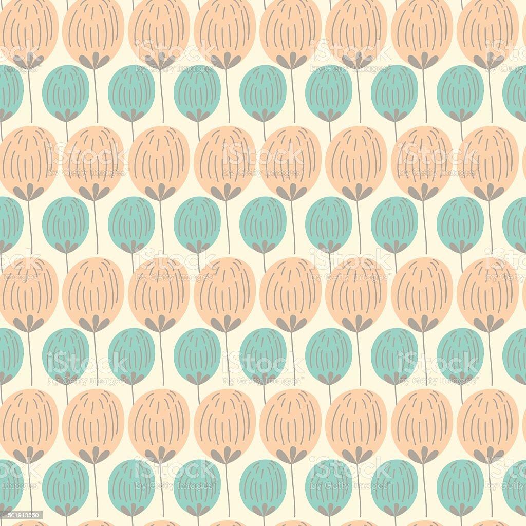 Vector modern floral seamless pattern wirth northern flora eleme vector art illustration