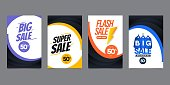 Vector Modern Fluid For Big Sale Banners Design. Discount Banner Promotion Template. Design for web banner or print.