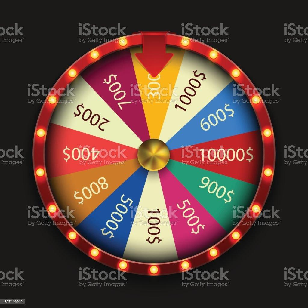 Vector modern fortune wheel on black background vector art illustration