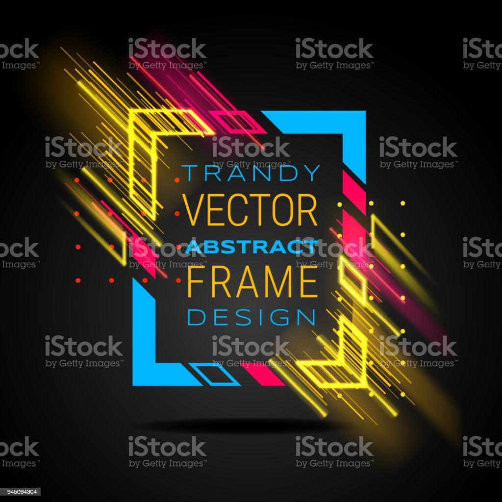 Vektor Modernen Rahmen Mit Geometrischen Neon Leuchtende