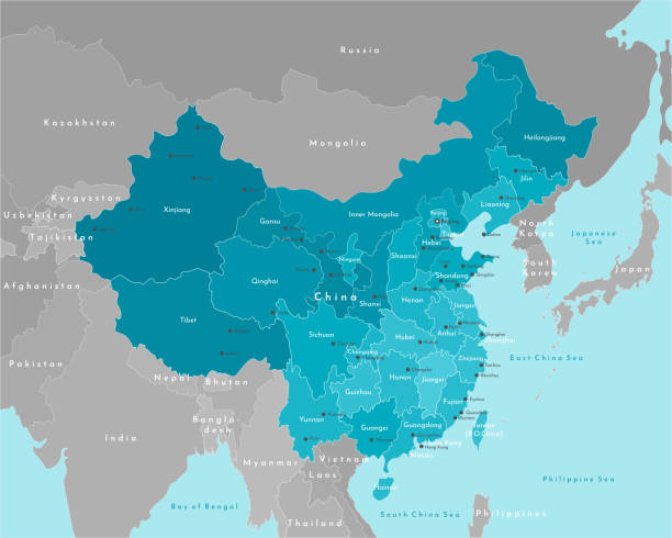 ベクトルモダンイラスト。中国と大陸上の最も近い州の単純化された地理マップ。海の青い背景。都市名(北京、香港)と地方 - アジア点のイラスト素材/クリップアート素材/マンガ素材/アイコン素材
