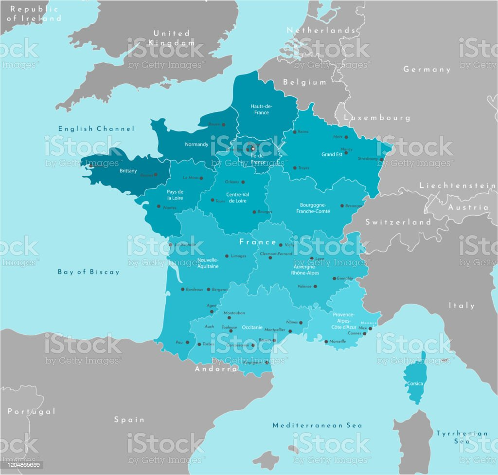 Picture of: Vector Modern Illustration Simplified Geographical Map Of France And Neighboring Countries Blue Background Of Mediterranean Sea Names Of The Cities And Provinces Stock Illustration Download Image Now Istock