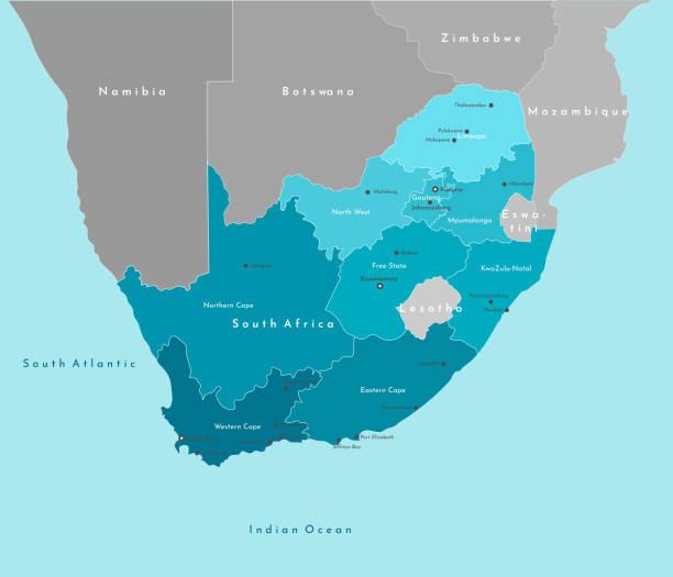 bildbanksillustrationer, clip art samt tecknat material och ikoner med vektor modern illustration. förenklad geografisk karta över republiken sydafrika och gränser med grannländerna. blå bakgrund av indiska oceanen. namn på städer och provinser i sydafrika. - south africa