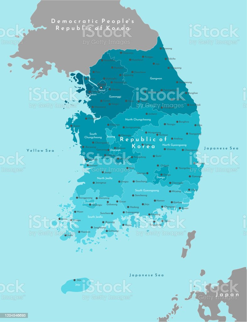 Picture of: Vector Modern Illustration Simplified Geographical Map Of South Korea With North Korea On Border Blue Background Of Yellow Sea And Japanese Sea Names Of Cities And Provinces Stock Illustration Download Image