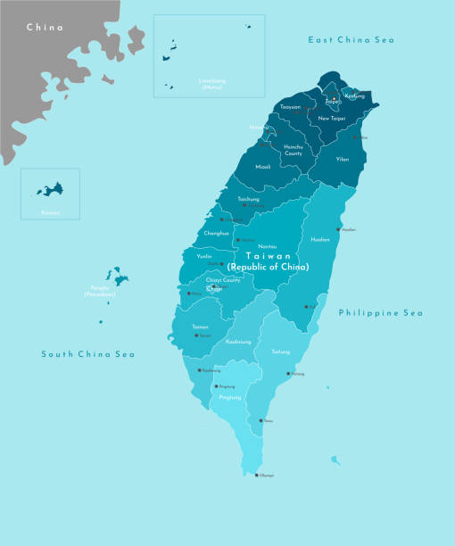 vektor moderne illustration. vereinfachte geografische karte von taiwan (republik china) und nächstgelegenen gebieten. blauer hintergrund von meeren. namen der taiwanesischen städte und provinzen. - insel taiwan stock-grafiken, -clipart, -cartoons und -symbole