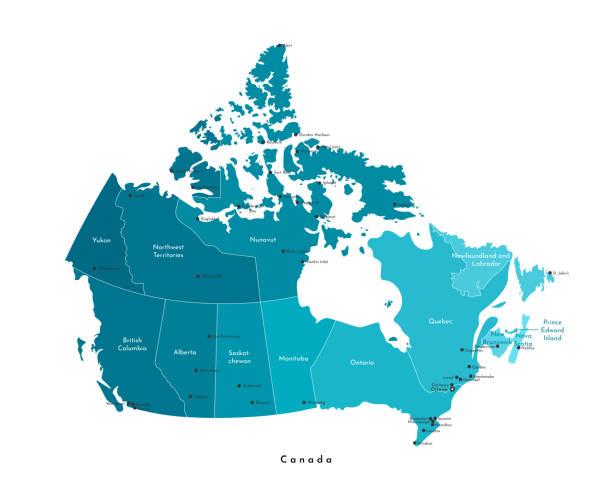 wektorowa nowoczesna ilustracja. uproszczona izolowana mapa administracyjna kanady w kolorach niebieskich. białe tło i kontur. nazwy miast (ottawa, toronto i itp.) i prowincji. - kanada stock illustrations