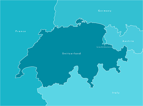 Vector modern illustration. Simplified map of Switzerland and borders with neighboring countries France, Germany, Italy, Austria, Liechtenstein. Blue shapes of states, white outline.