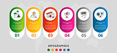 Vector modern infographic flat template pin for six paper label, diagram, graph, presentation. Business concept with 6 options and marks. Blank space for content, step for step, timeline, workflow