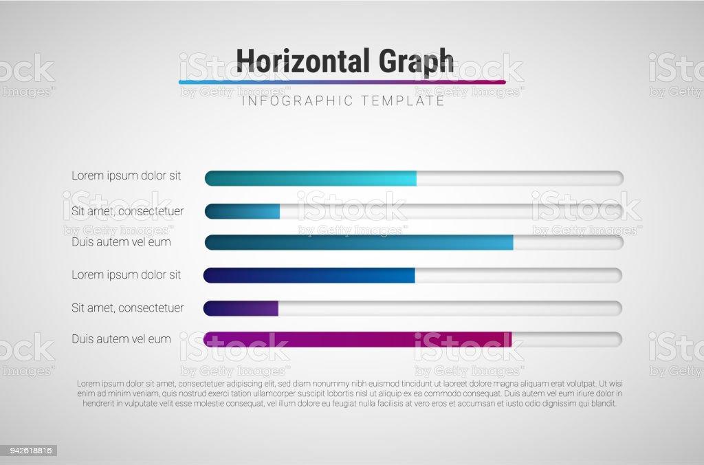 Modelo de vetor moderno infográfico com barras de progresso colorido - ilustração de arte em vetor