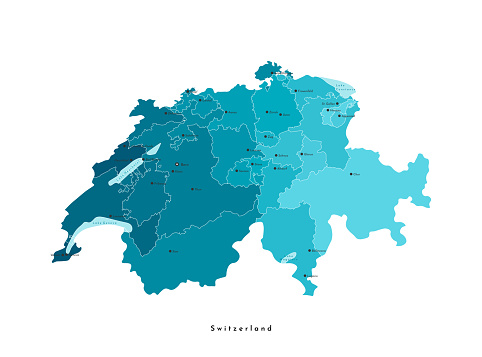 Vector modern isolated illustration. Simplified administrative blue map of Switzerland. Light blue shapes of lakes. Names of swiss cities and regions (cantons).