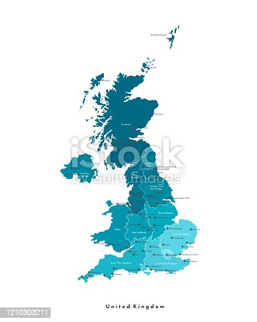 Vector modern isolated illustration. Simplified administrative map of United Kingdom of Great Britain and Northern Ireland (UK). Blue shapes. Names of spme big cities and regions. White background