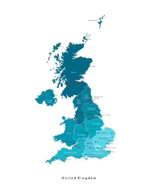 bildbanksillustrationer, clip art samt tecknat material och ikoner med vektor modern isolerad illustration. förenklad administrativ karta över storbritannien och nordirland (storbritannien). blå former. namn på spme stora städer och regioner. vit bakgrund - storbritannien