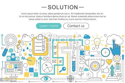 Line Design Solutions : ベクター近代的なラインのフラットなデザイン ソリューションの概念ロジック脳ソリューション アイコンアプリ デザイン