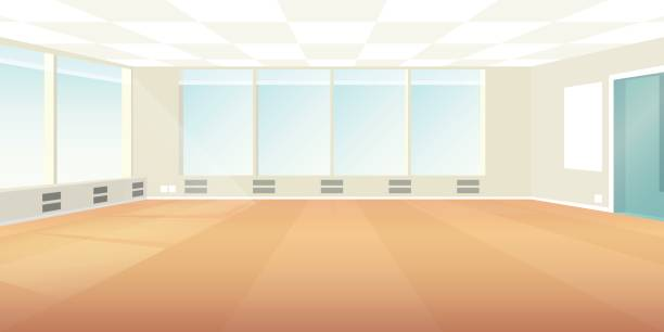 vector modern loft office interior empty scene in flat style - empty room stock illustrations