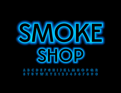 Vector modern logo Smoke Shop. Glowing set of Alphabet Letters and Numbers