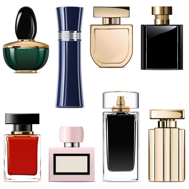 illustrazioni stock, clip art, cartoni animati e icone di tendenza di vector modern perfume icons - profumo