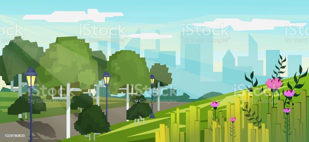 高層ビル建物の背景を持つ都市公園のベクトル現代ピクセル ゲーム スタイル イラスト。 ベクターアートイラスト