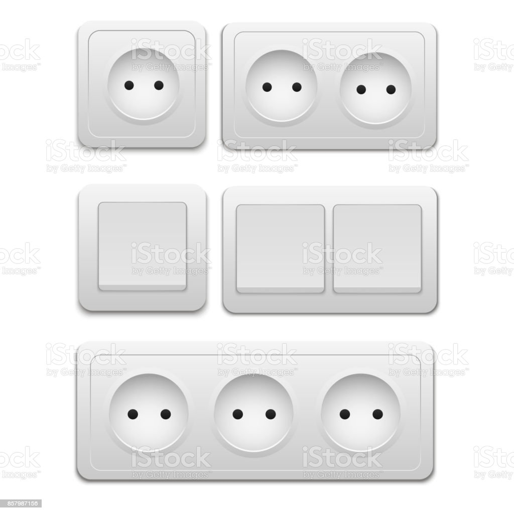 Vector Modern Power Socket And Light Switch Icon On Background Electric Outlet Royalty Free