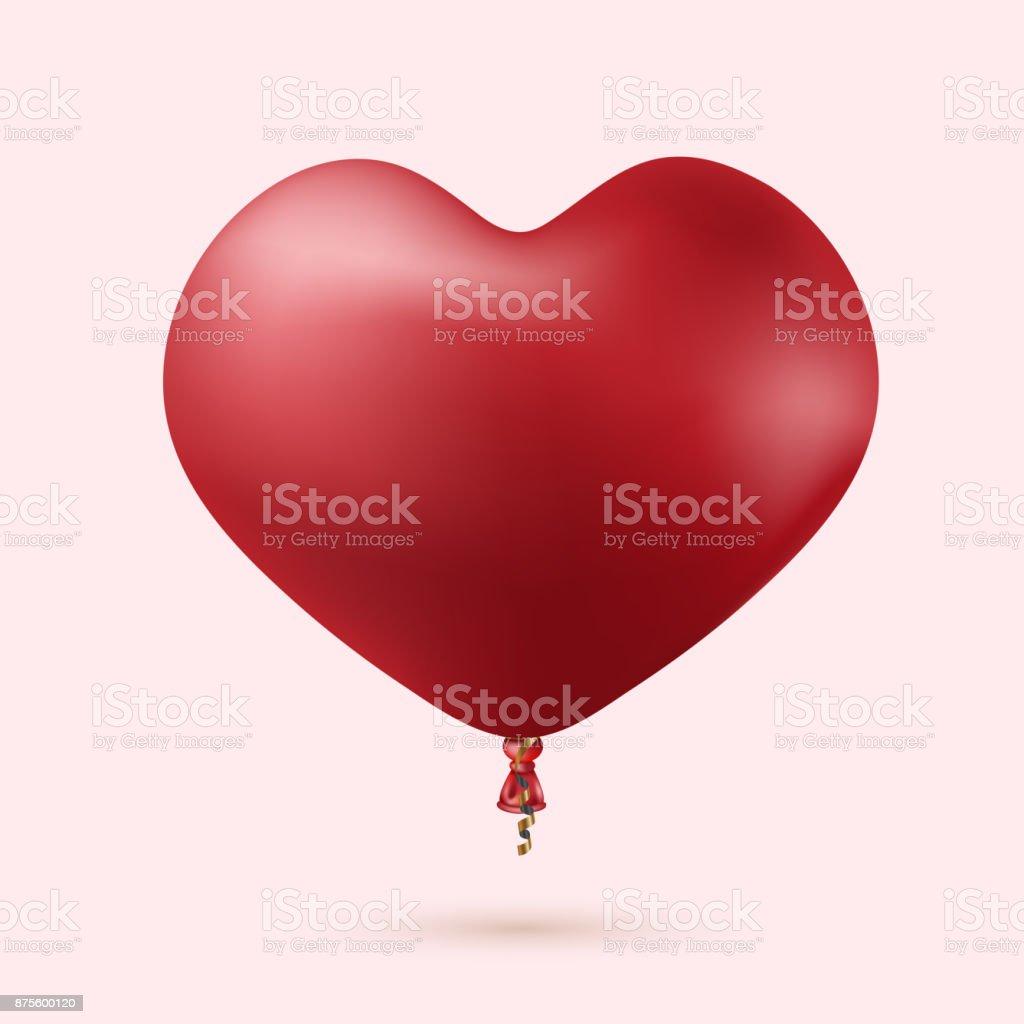 Vector modern red heart balloon with ribbon vector art illustration
