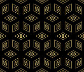 Vector Modern Seamless Geometric Pattern with Cube. Abstract geometry. For Background, Fashion Print. Hipster design. Black, Gold color