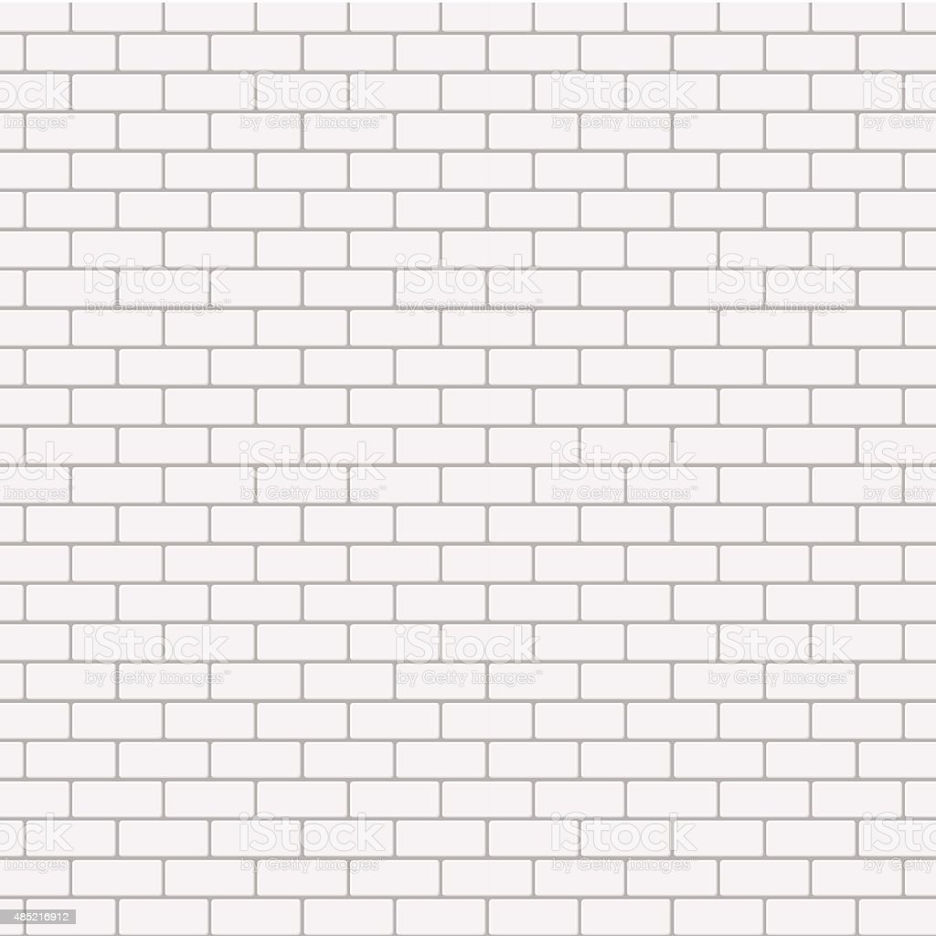 Vector modern seamless white brick background vector art illustration