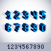 Vector modern tech whole numbers set. Geometric pixilated digits, 3d dotted 8 bit numeration from 0 to 9.