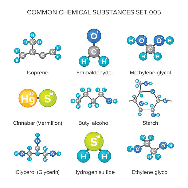 stockillustraties, clipart, cartoons en iconen met vector molecular structures of chemical substances isolated on white - waterstof