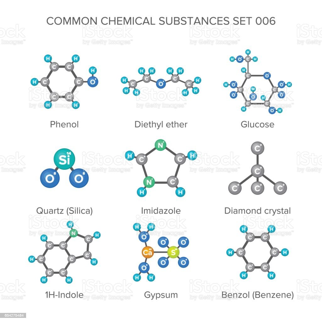 Vector molecular structures of chemical substances isolated on white vector art illustration