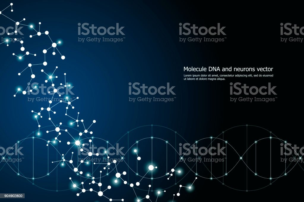 Vector molecule background, genetic and chemical compounds. Abstract connected lines with dots, medical, technological and scientific concept vector art illustration