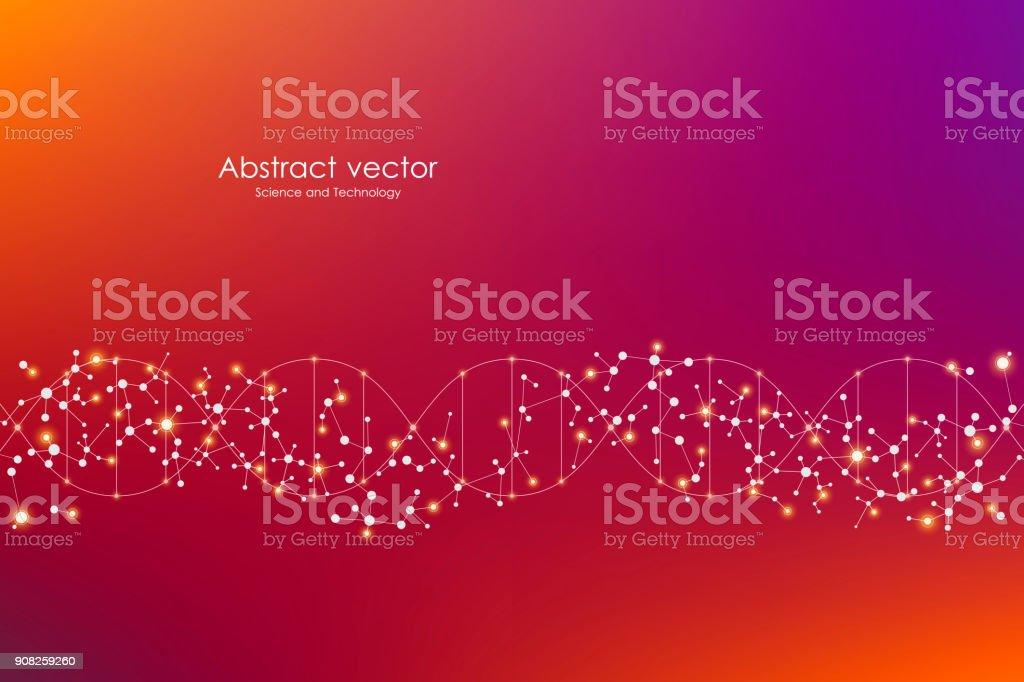 Fundo de molécula vector, compostos químicos e genéticos. Abstrato de linhas conectadas com pontos, conceito médico, tecnológico e científico - ilustração de arte em vetor