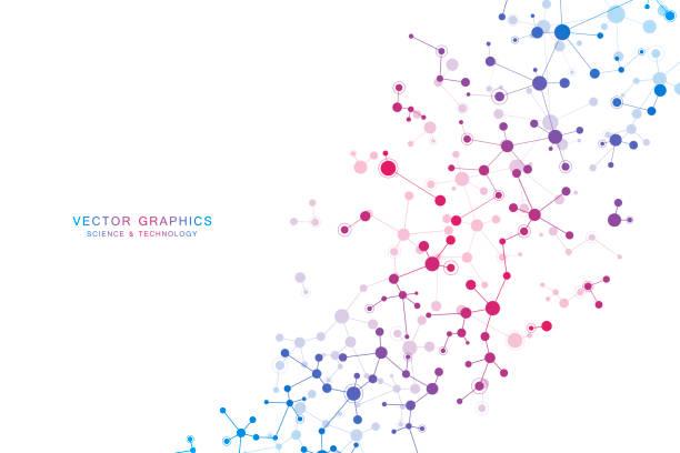ilustraciones, imágenes clip art, dibujos animados e iconos de stock de fondo de vector molécula, compuestos químicos y genéticos - química