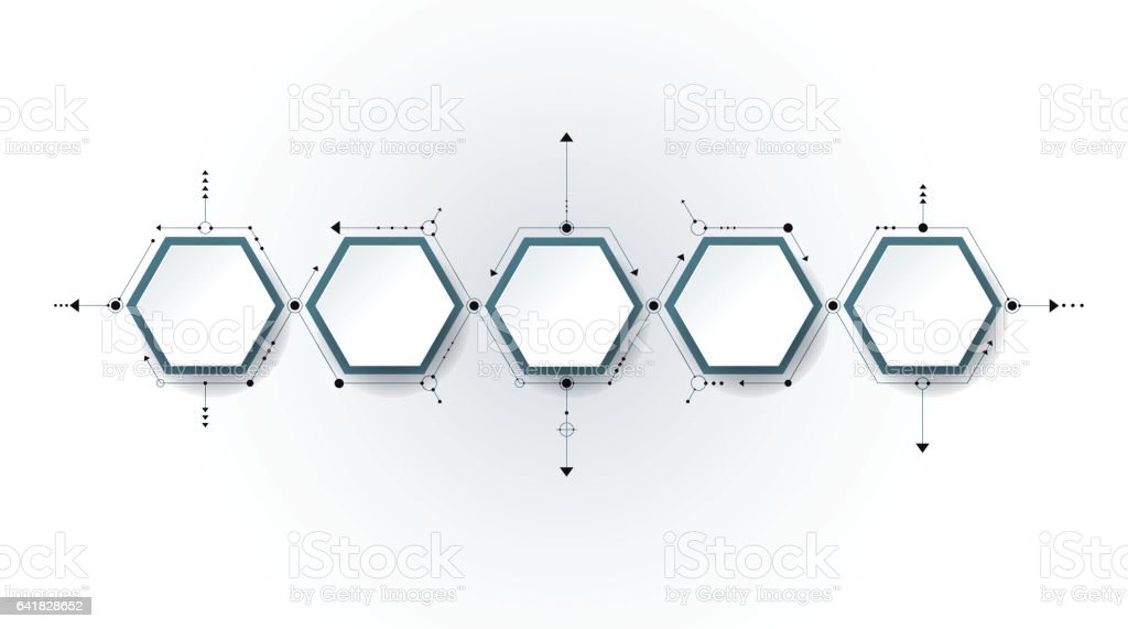 Vector molecule, integrated Hexagon background vector art illustration