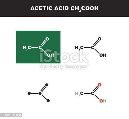 Vector organic polar aliphatic molecule or solvent of Acetic acid CH3COOH in several variants - organic chemistry concept. Chemical formulas isolated on a white background.