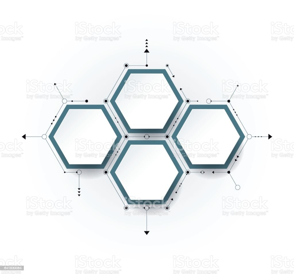 Vector molecule with 3D paper label, integrated Hexagon background vector art illustration