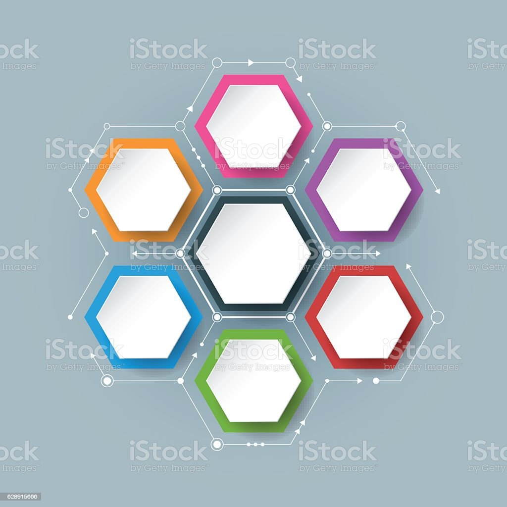 Vector molecule with integrated Hexagon background vector art illustration