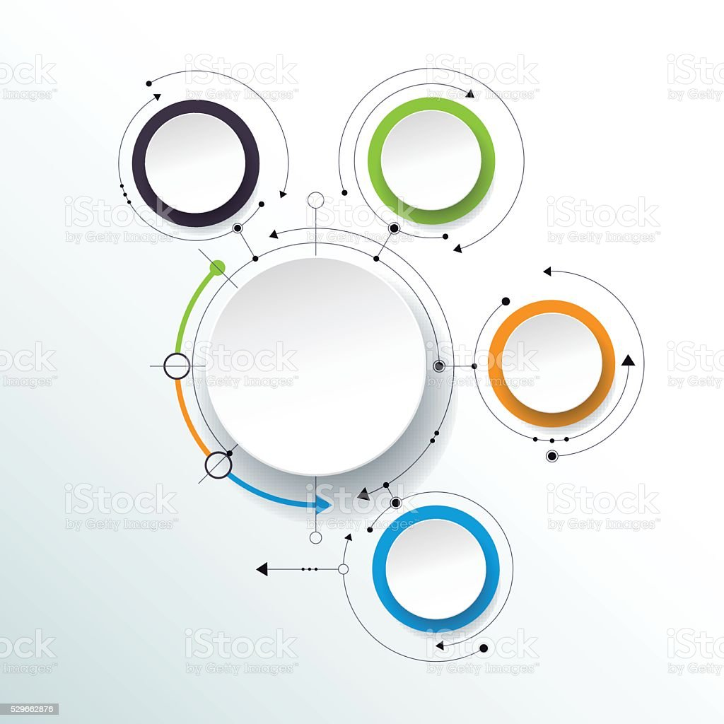 Vector molecules with 3D paper label, integrated circles vector art illustration