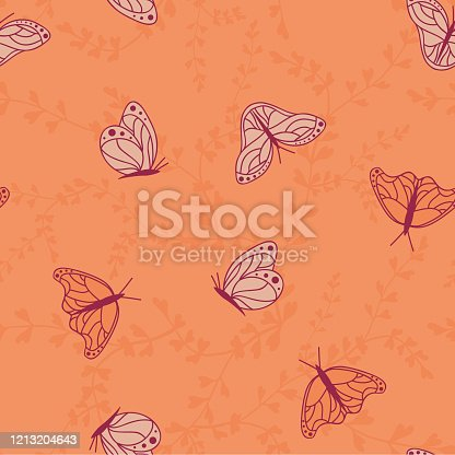 Vector Monarch Butterflies with Florals seamless pattern background. Perfect for fabric, scrapbooking and wallpaper projects.
