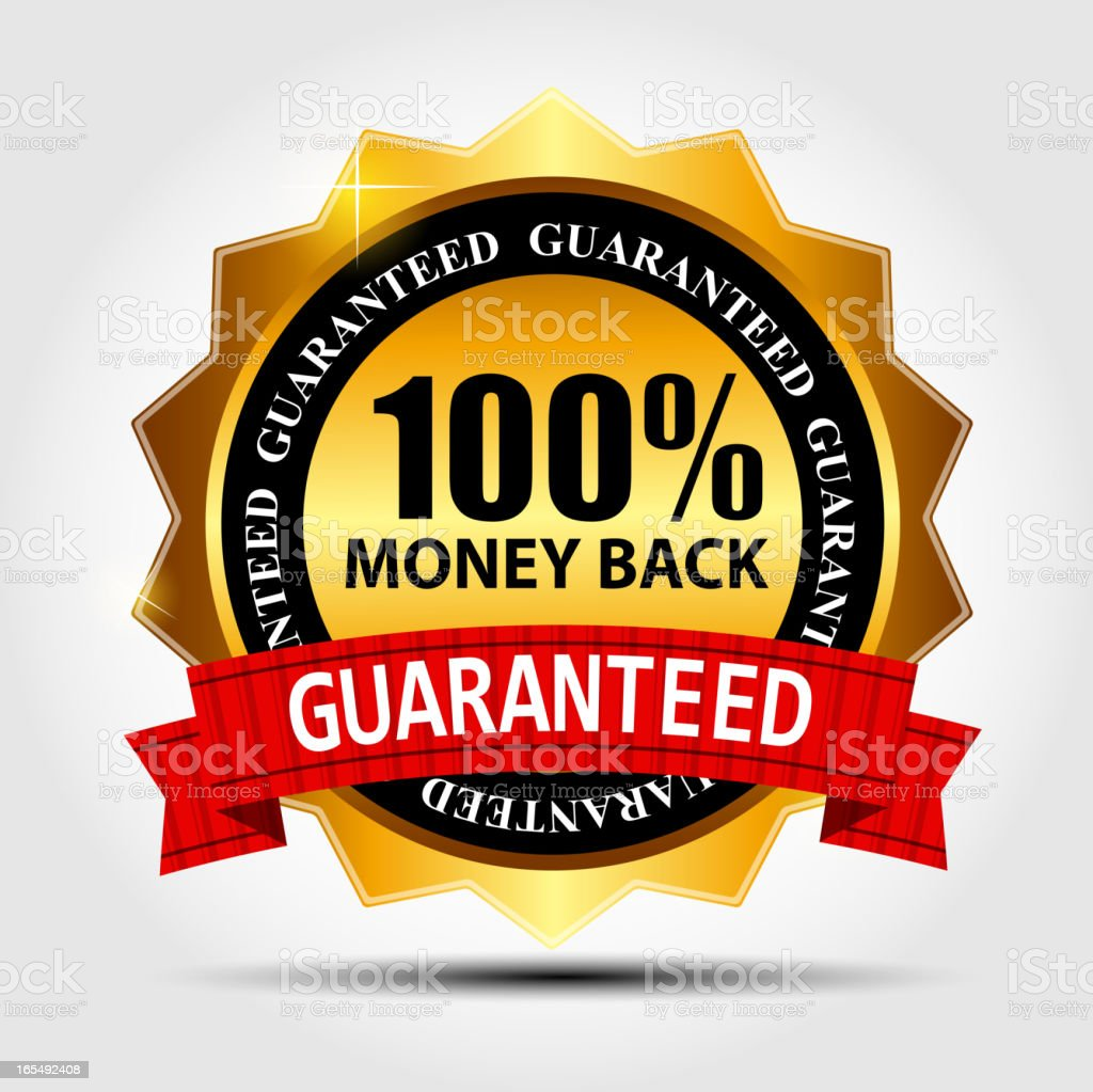 Vector money back guarantee gold sign, label vector art illustration