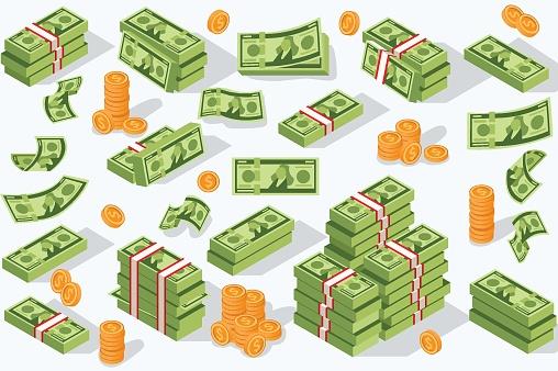 Vector Money Currency — стоковая векторная графика и другие изображения на тему 1 доллар - Бумажные деньги США