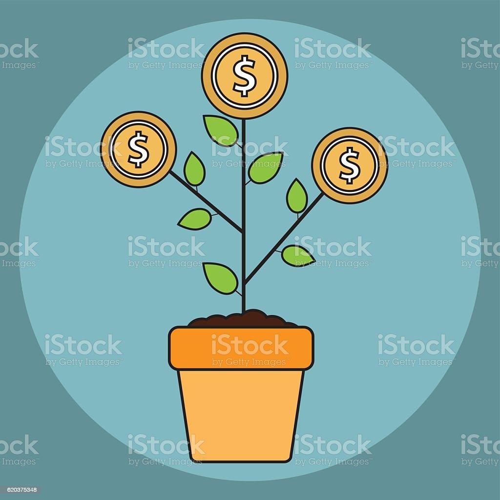 Vector Árvore de dinheiro crescimento conceito em estilo flat vector Árvore de dinheiro crescimento conceito em estilo flat - arte vetorial de stock e mais imagens de abundância royalty-free