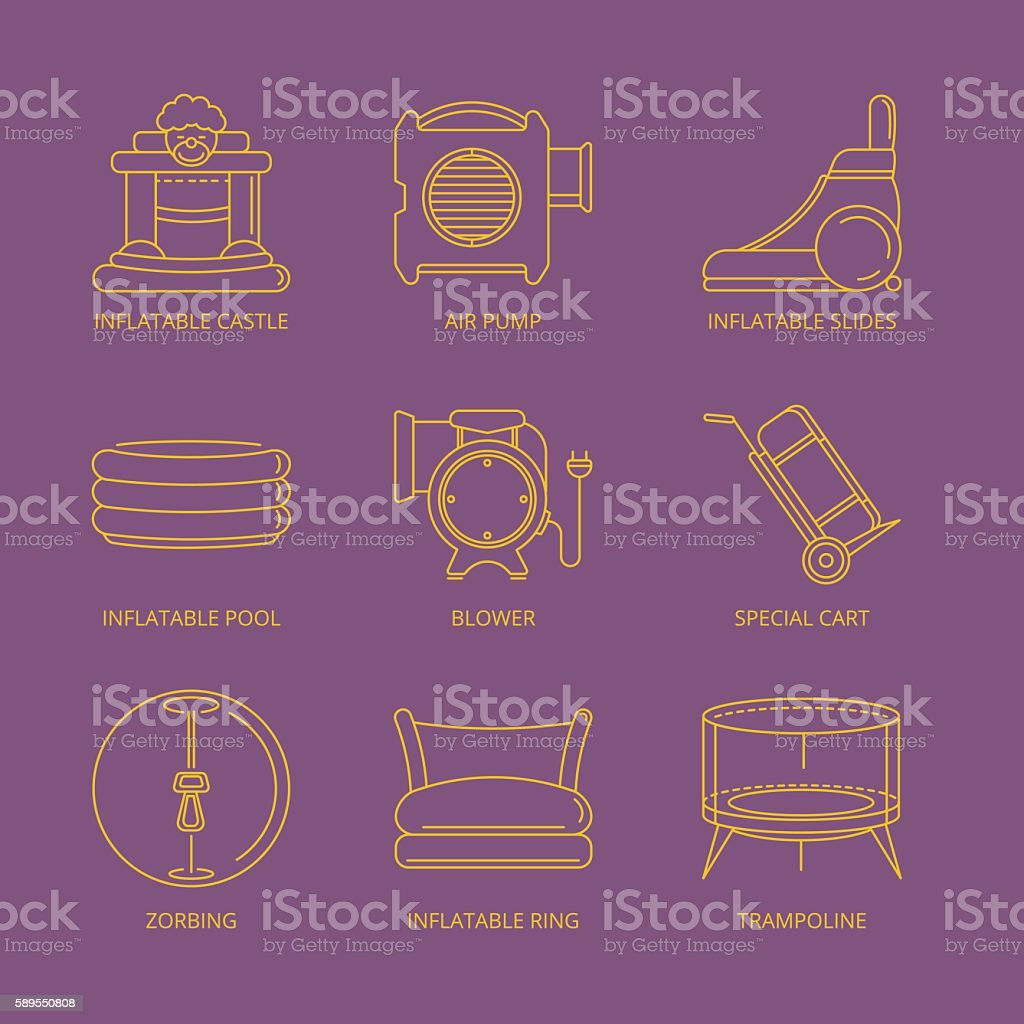 Vector mono line icons set of inflatable castles vector art illustration