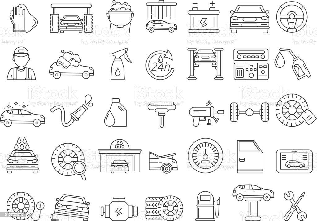 Vector mono line pictures of automobile parts. Repair car services
