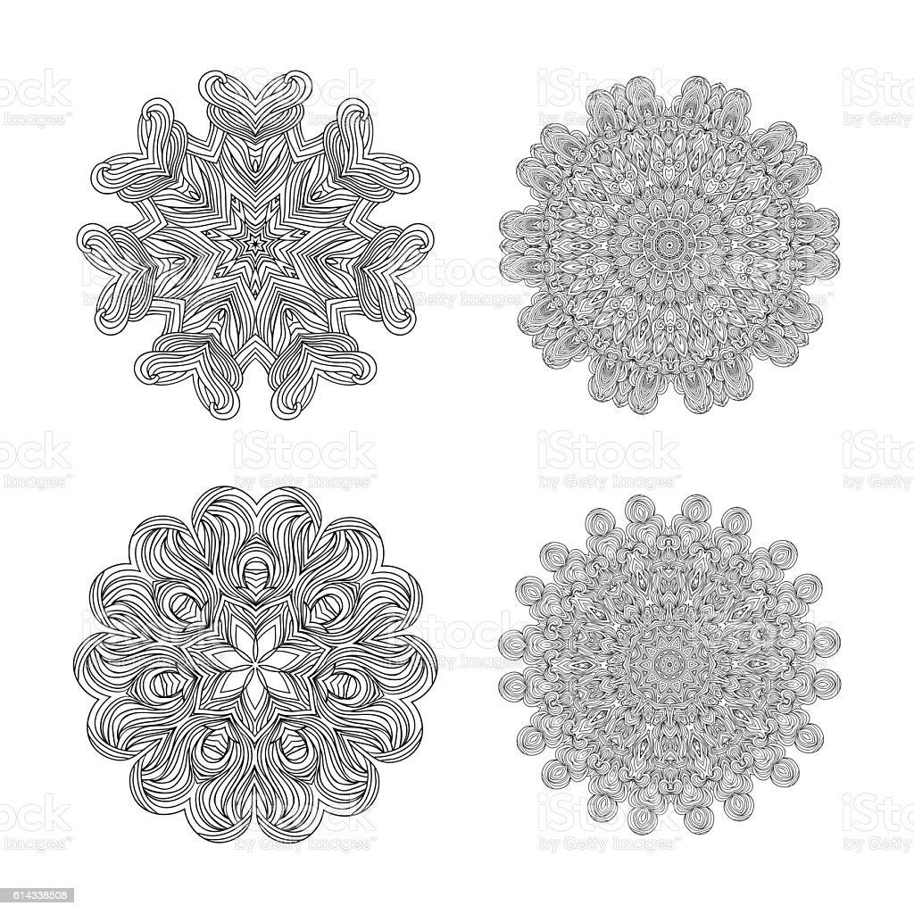 vector monochrome background hand drawn round ornament template for