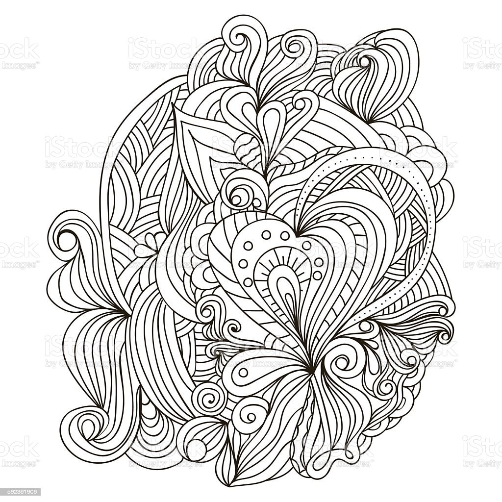 Hand Drawn Template For Adult Coloring Book Royalty Free Stock Vector