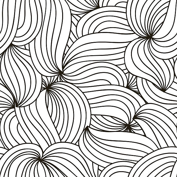 Vector monochrome background. Hand drawn wavy ornament. Template for greeting Vector monochrome background. Hand drawn curly ornament. Template for greeting card, postcard or adult coloring book. Lace design wave. Detailed illustration. só adultos stock illustrations