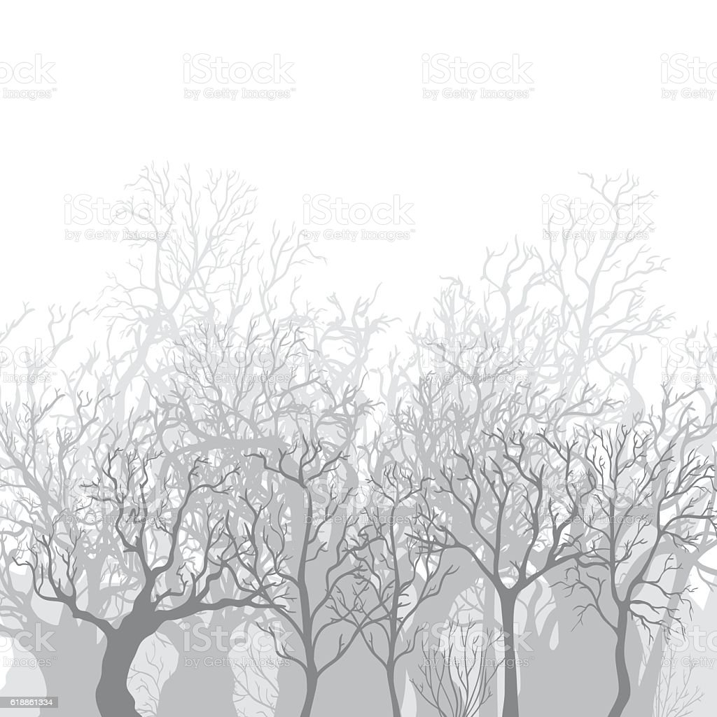 Vector Monochrome Background of Bare Dead Trees - illustrazione arte vettoriale