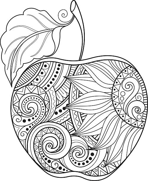 Best Black And White Apple Illustrations, Royalty-Free