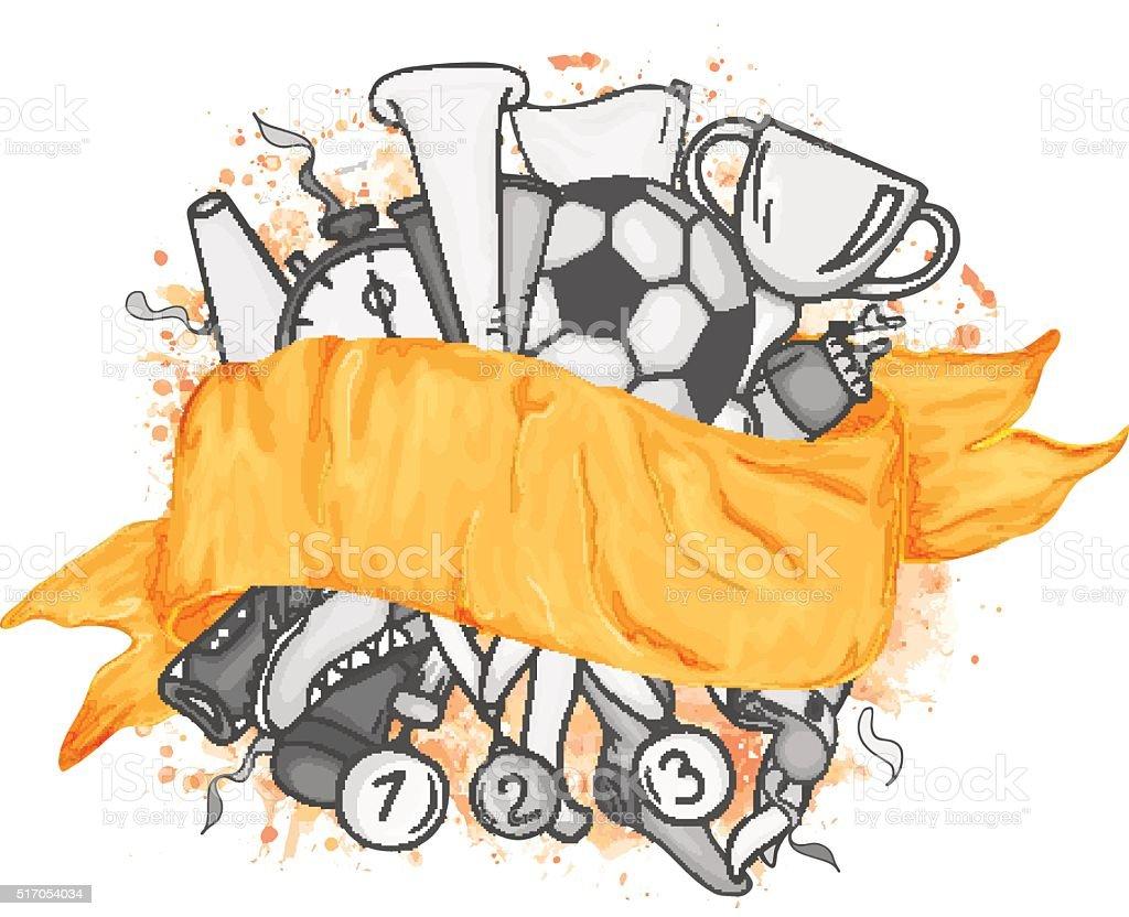 Vector Monochrome Festive Design Banner With Orange Ribbon
