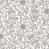 Vector Monochrome Floral Background.