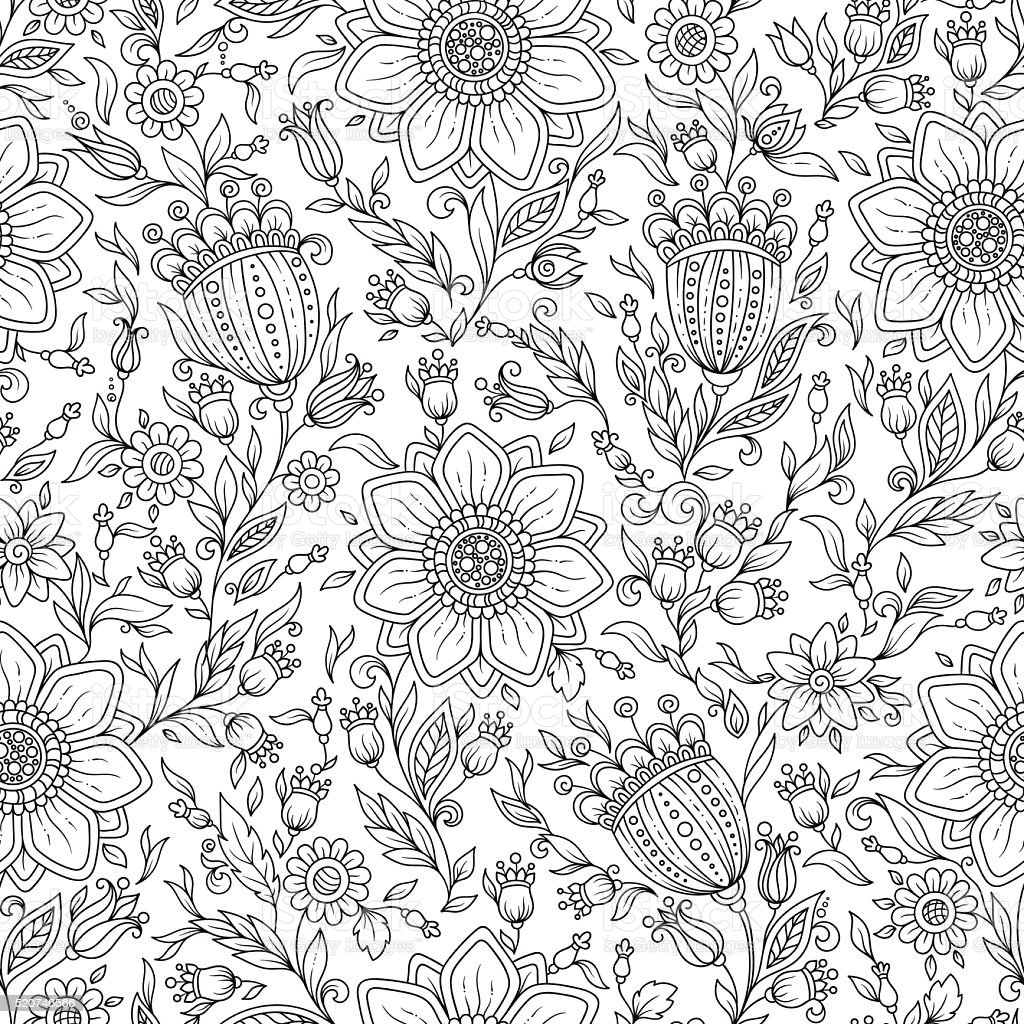 Vector Monochrome Floral Background. vector art illustration